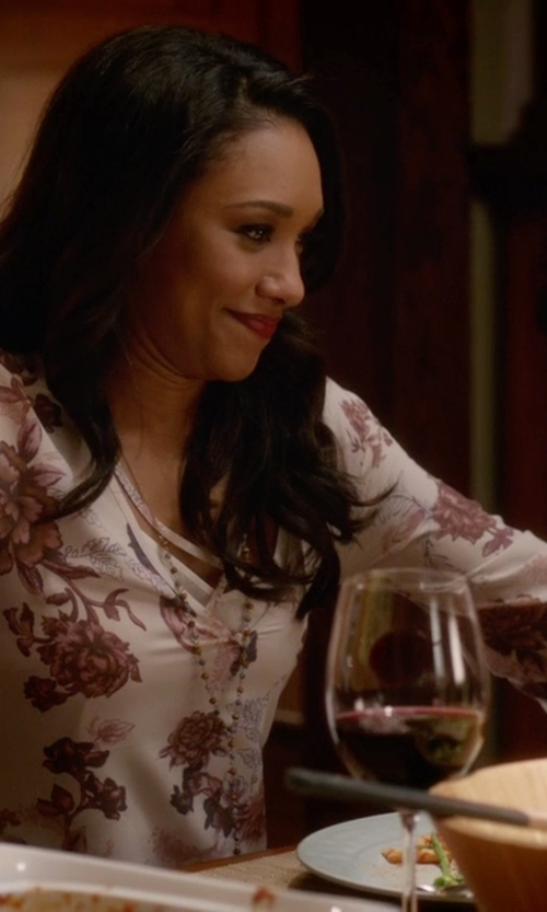 Candice Patton with Love Sadie V-Neck Floral Print Blouse in The Flash