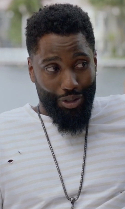 John David Washington with Michael Kors Striped Long-Sleeve Slub Tee in Ballers
