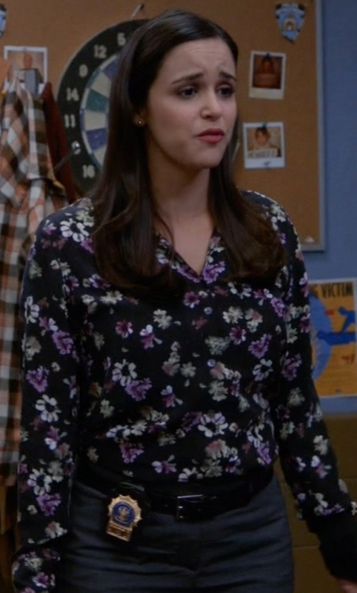 Melissa Fumero with Equipment Adalyn Floral-Print Silk Shirt in Brooklyn Nine-Nine