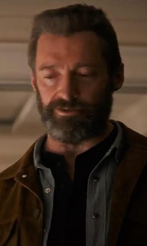 Hugh Jackman with John Varvatos Star USA Long-Sleeve Denim Shirt in Logan