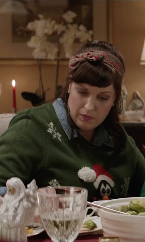 Allison Tolman with Isabella's Closet Women's Whimsical Cat With Santa Hat Ugly Christmas Sweater in Krampus