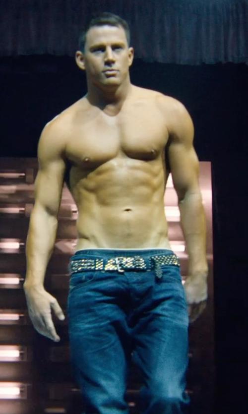 Channing Tatum with Armani Jeans Medium Wash Anti-Fit Jeans in Magic Mike XXL