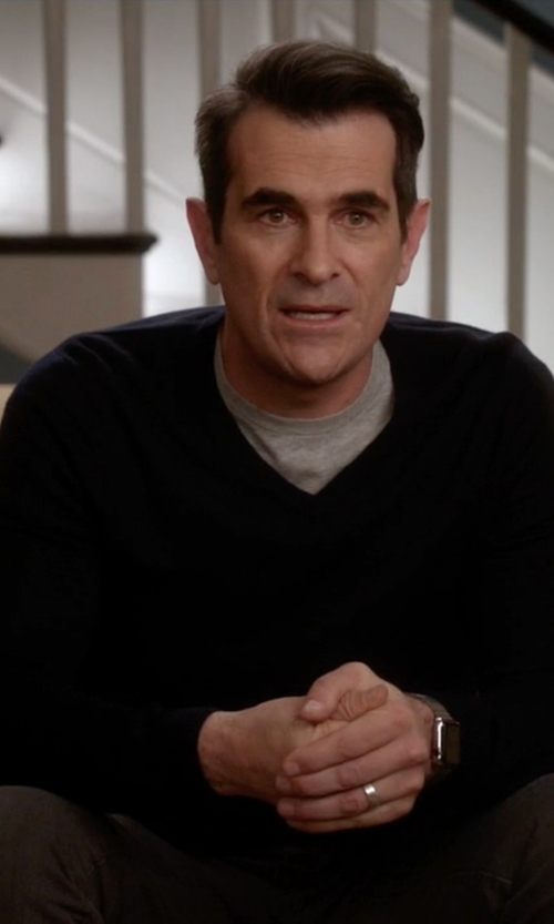 Ty Burrell with Quinn Ivan V-Neck Cashmere Sweater in Modern Family
