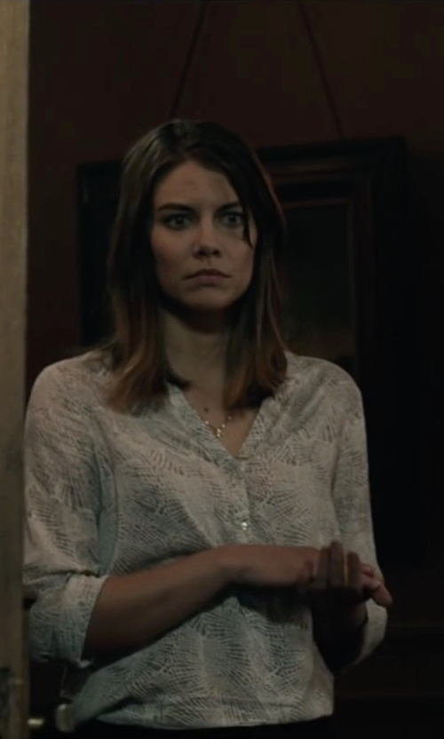 Lauren Cohan with Soft Joie Anabella D Snake Print Roll Sleeve Blouse in The Boy
