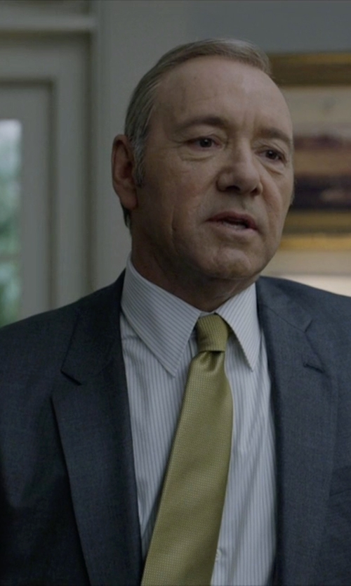Kevin Spacey with Charvet Shadow Striped Dress Shirt in House of Cards