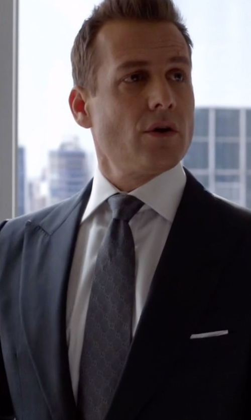 Gabriel Macht with Gucci Logo Printed Silk Tie in Suits