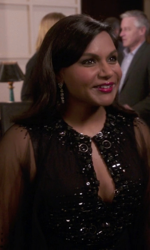 Mindy Kaling with Kaufman Franco Moroccan Jeweled Mesh Dress in The Mindy Project