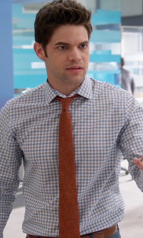 Jeremy Jordan with J. Crew Gingham Ludlow Shirt in Supergirl