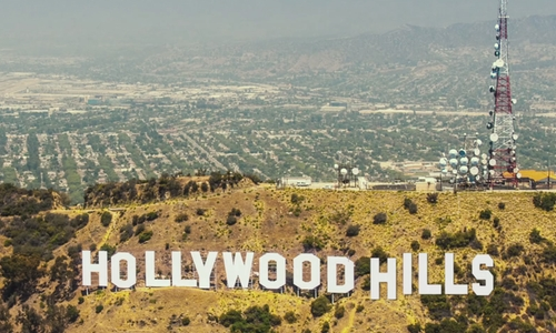 Unknown Actor with Hollywood Sign Los Angeles, California in We Are Your Friends