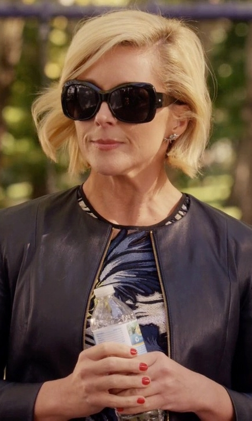 Jane Krakowski with Valentino Rockstud Oversized Square-Frame Sunglasses in Unbreakable Kimmy Schmidt