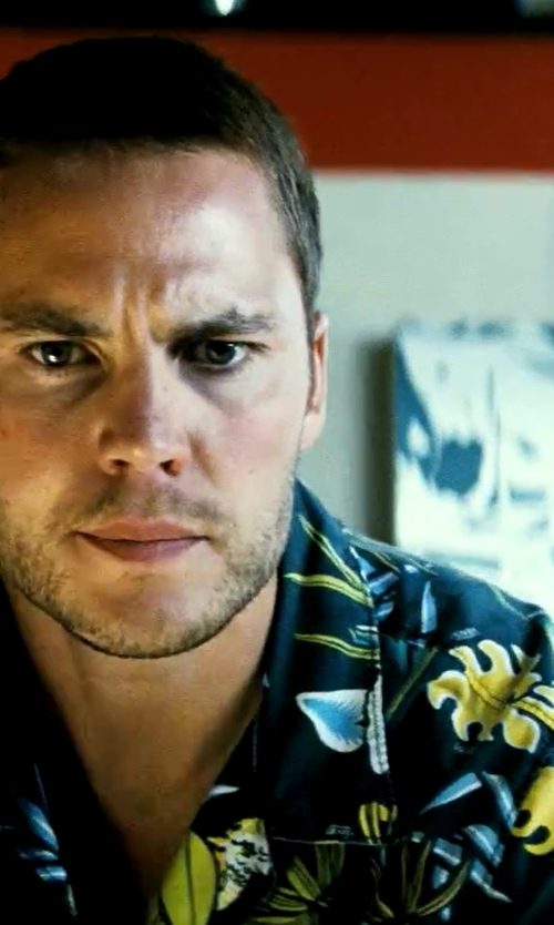 Taylor Kitsch with Pacific Legend Tropical Floral Monstera and Plumeria Hawaiian Shirt in Savages