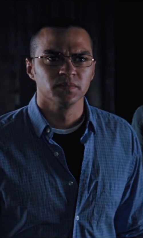 Jesse Williams with Calvin Klein Rectangular Reading Glasses in Cabin in the Woods