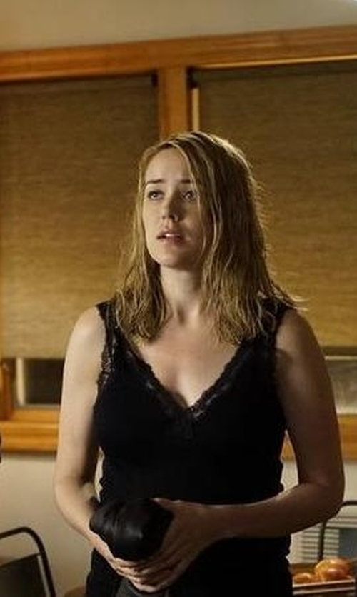 Megan Boone with Ralph Lauren Lace Trim Cotton Tank Top in The Blacklist