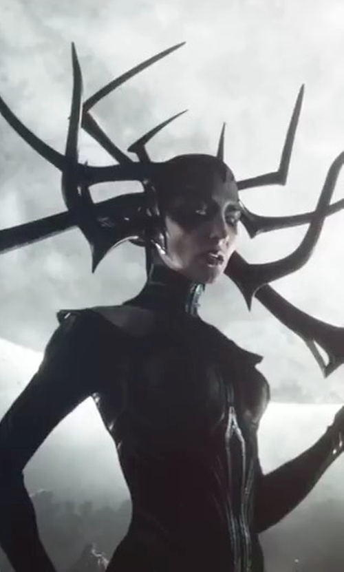 Cate Blanchett with Mayes C. Rubeo (Costume Designer) Custom Made Hela Crown in Thor: Ragnarok