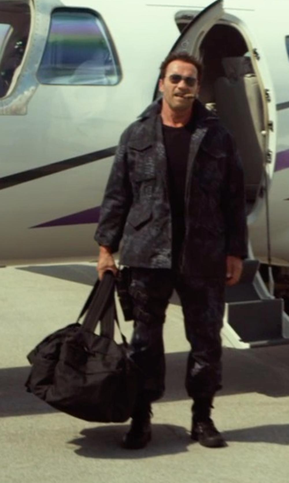Arnold Schwarzenegger with Neil Barrett Rib Hem Wool Blend Cargo Trousers in The Expendables 3
