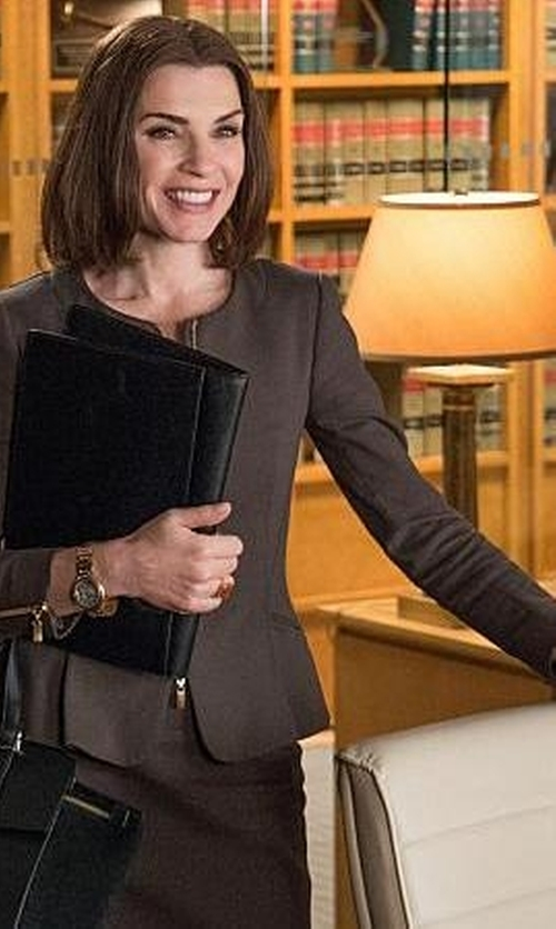 Julianna Margulies with Tahari Arthur S. Levine Stretch Zip Front Blazer in The Good Wife