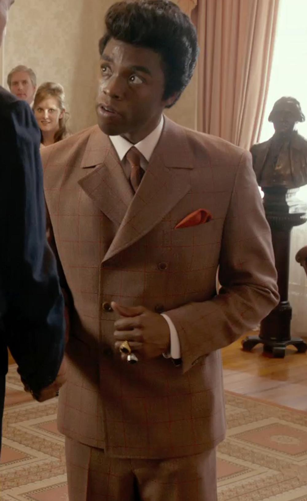 Chadwick Boseman with Polo Ralph Lauren Purple Label Mens Cashmere Suit Brown Plaid Italy 42L in Get On Up