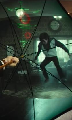 Colin Firth with Kingsman Chestnut Wood-Handle Umbrella in Kingsman: The Secret Service