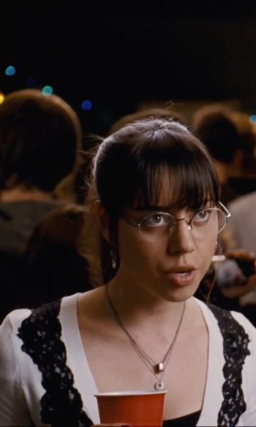 Aubrey Plaza with NY Deals Lace-Front Cardigan in Scott Pilgrim Vs. The World