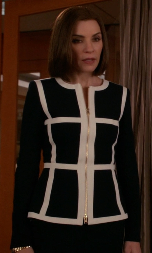 Julianna Margulies with Moschino Couture Single Breasted Blazer in The Good Wife