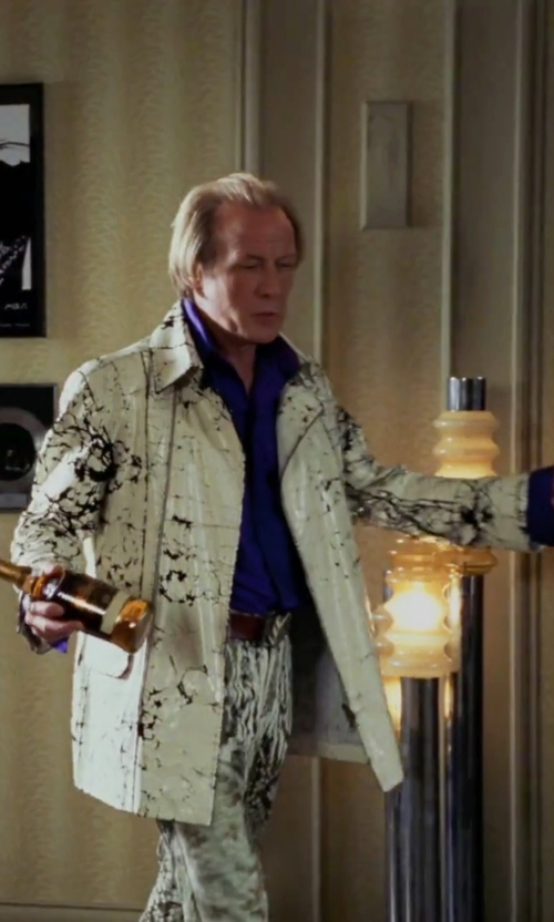 Bill Nighy with Asos All Over Print Velour Bomber Jacket in Love Actually
