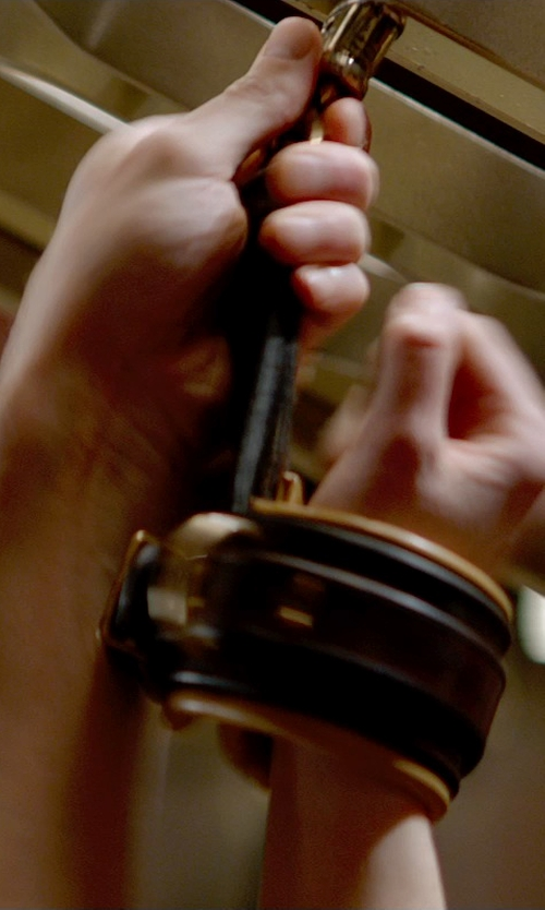 Dakota Johnson with Dsquared2 Leather Handcuff Bracelet in Fifty Shades of Grey