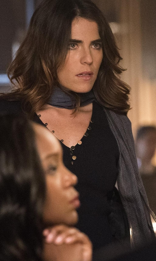 Karla Souza with Zadig & Voltaire Rhinestone Henley T-Shirt in How To Get Away With Murder