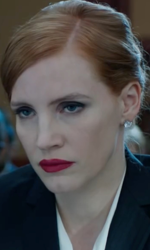Jessica Chastain with Adriana Orsini Sterling Silver Stud Earrings in Miss Sloane