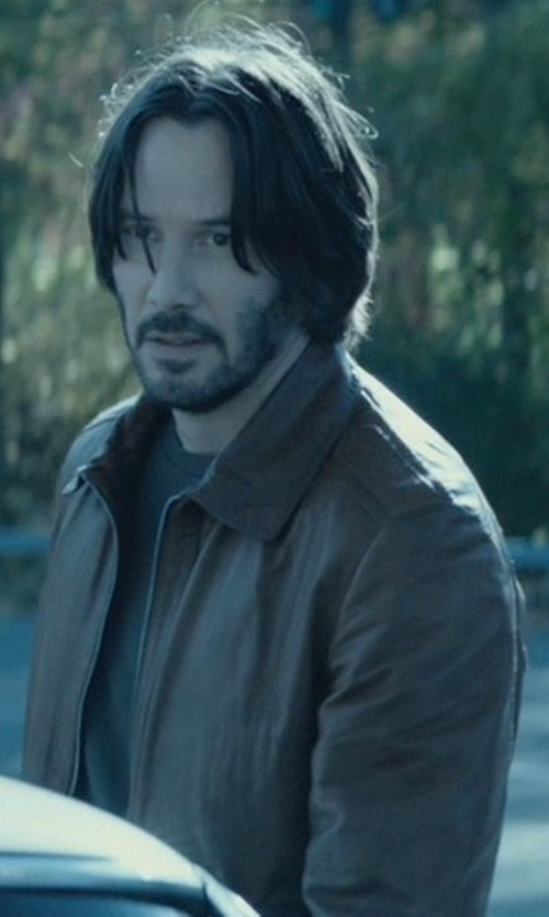 Keanu Reeves with Saks Fifth Avenue Collection Leather Bomber Jacket in John Wick