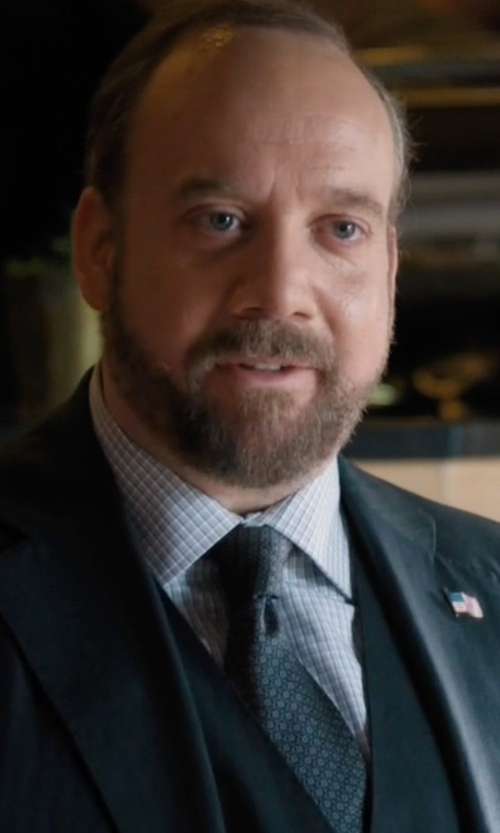 Paul Giamatti with Boss Stripe & Dot Textured Tie in Billions