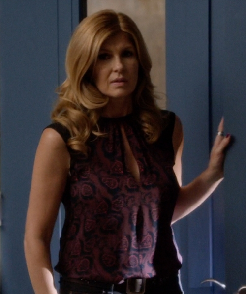 Connie Britton with J. Mendel Sleeveless Keyhole Lace Peplum Top in Nashville