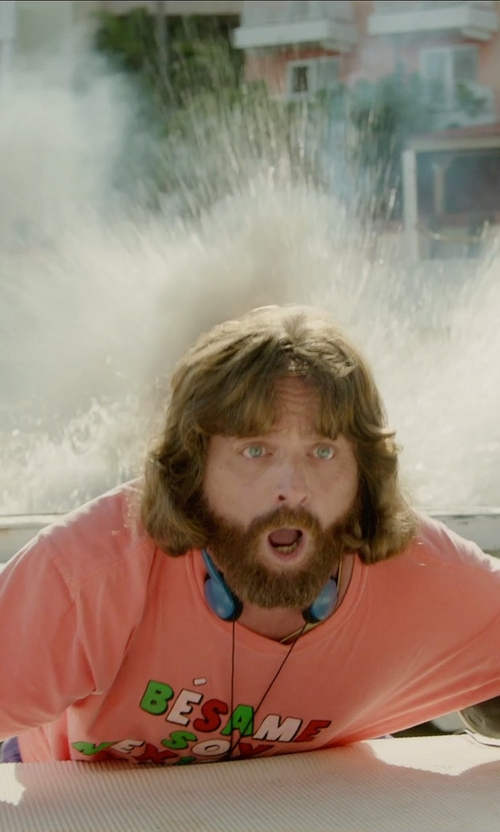 Zach Galifianakis with Panasonic Lightweight Headphones in Masterminds