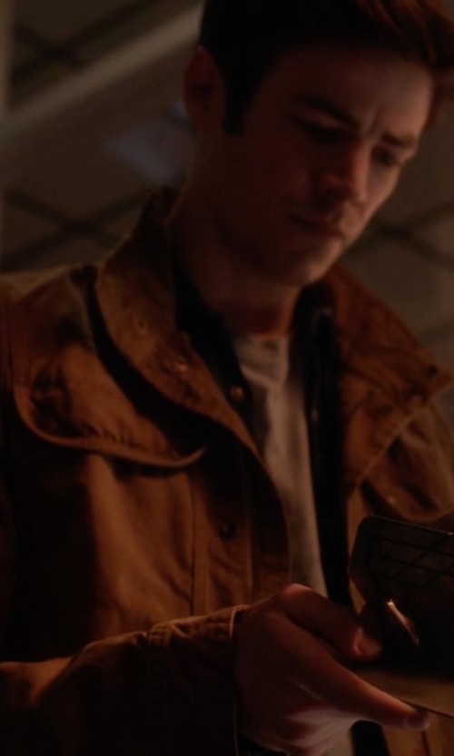 Grant Gustin with Frame L'Homme Military Jacket in The Flash