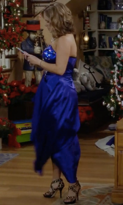 Andrea Barber with Michael Kors Evie Calf-Hair Sandals in Fuller House