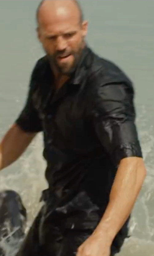 Jason Statham with Versace Button-Front Textured Dress Shirt in Mechanic: Resurrection