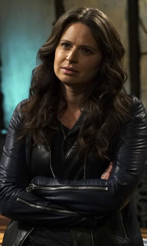 Katie Lowes with Vince Asymmetric Colorblock Leather Jacket in Scandal