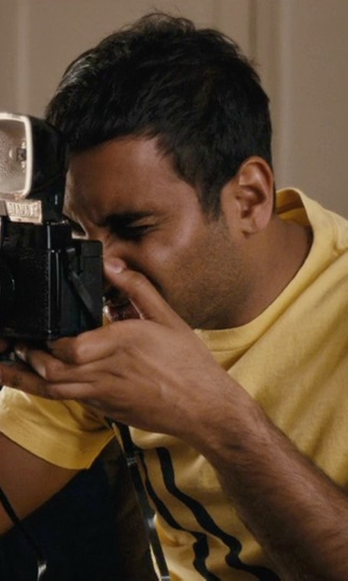 Aziz Ansari with Too Loud Stamp Style American Flag T-Shirt in Master of None