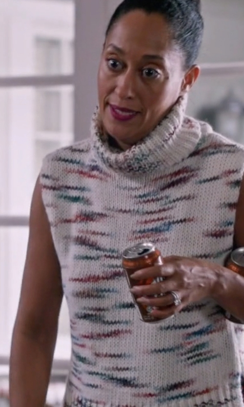 Tracee Ellis Ross with Elizabeth and James Sleeveless Turtleneck Sweater in Black-ish