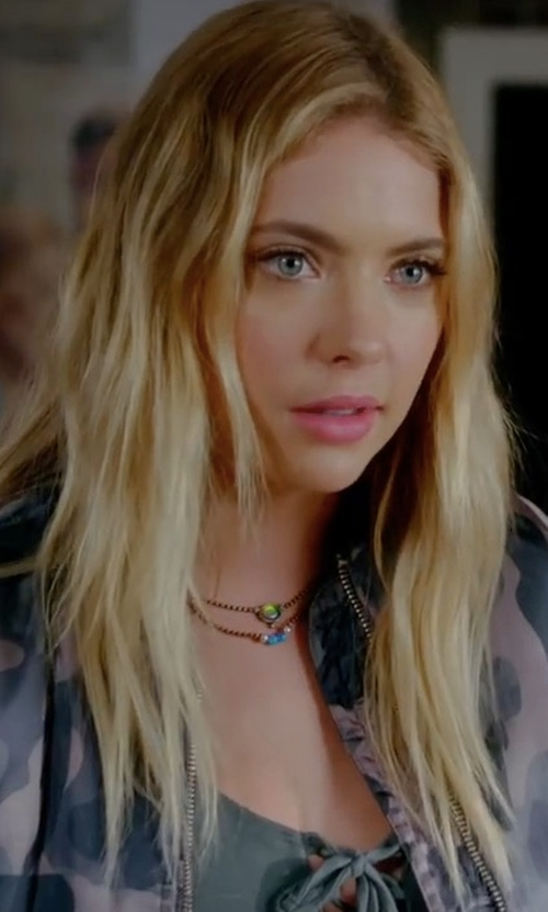 Ashley Benson with Topshop Pink Camo MA1 Bomber Jacket in Pretty Little Liars