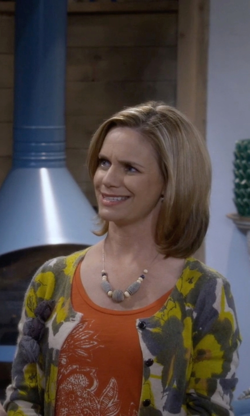 Andrea Barber with Lands' End Supima Print Cardigan Sweater in Fuller House