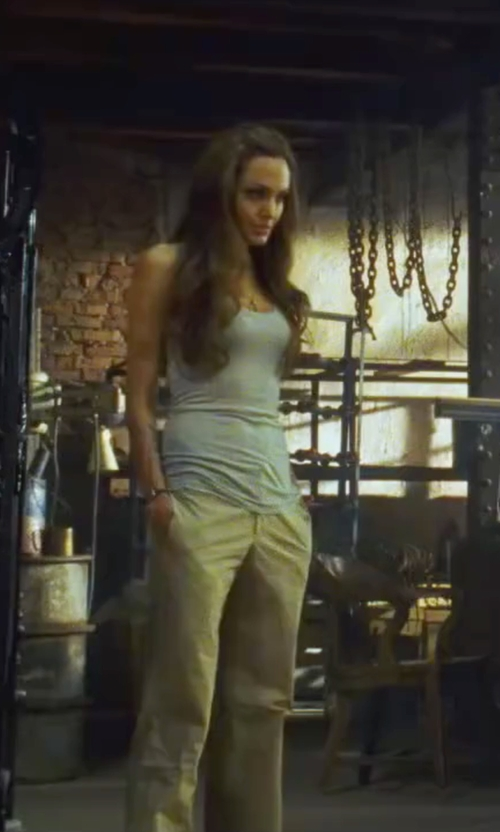Angelina Jolie with Theory Grinetta Linen Wide Leg Pants in Wanted