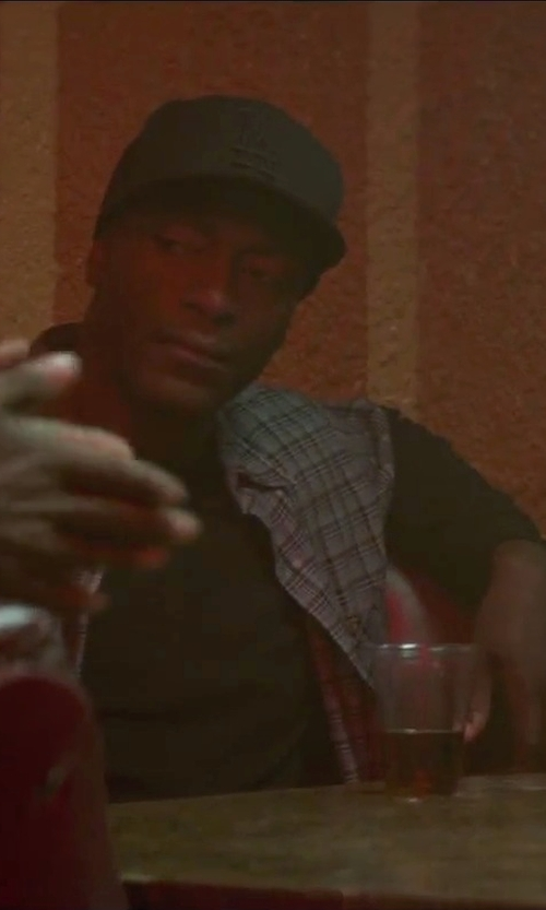 Aldis Hodge with James Perse Long Sleeve Crew Neck T-Shirt in Straight Outta Compton