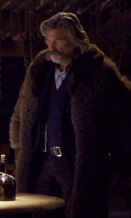 Kurt Russell with Merlin's Hide Out (Costume Designer) Custom Made 'The Hangman' Buffalo Coat in The Hateful Eight