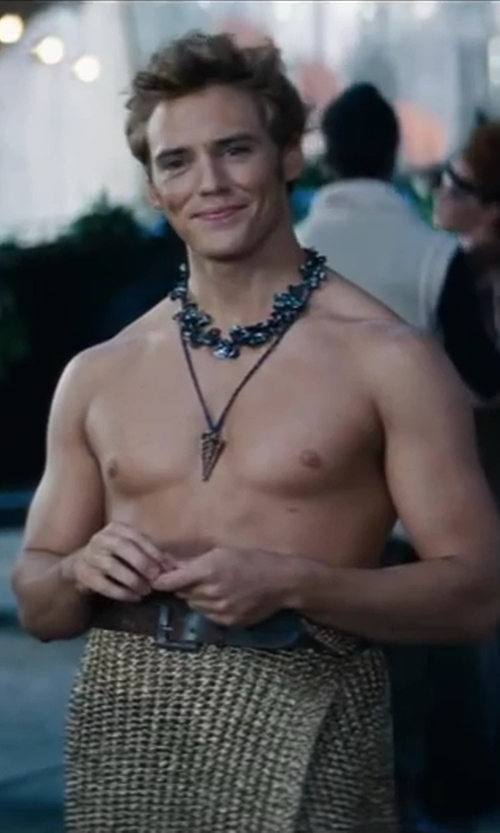 Sam Claflin with Browns Vintage Leather Belt in The Hunger Games: Catching Fire