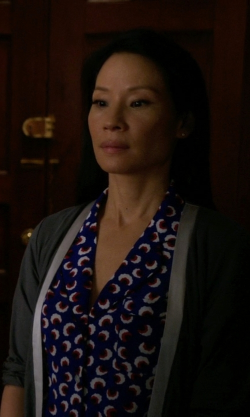 Lucy Liu with Calvin Klein 'Essentials' Short Robe in Elementary