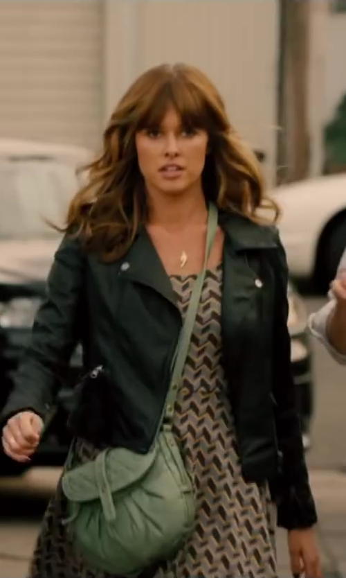 Sarah Wright with ASOS Leather Jacket with Biker Panel Detail in Walk of Shame
