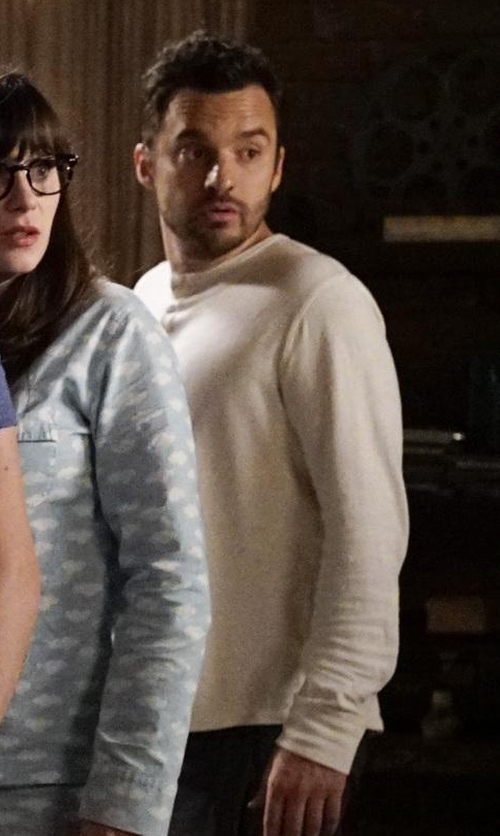 Jake Johnson with Billy Reid  Thermo Crew Neck Sweater in New Girl