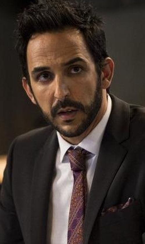 Amir Arison with Armani Collezioni End-on-End Solid Dress Shirt in The Blacklist