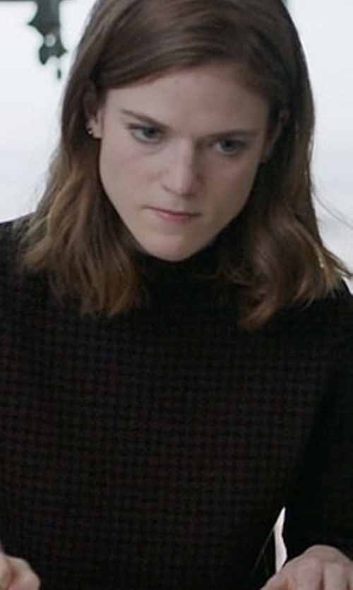Rose Leslie with Theory Harmona JH Evian Houndstooth Sweater in The Good Fight