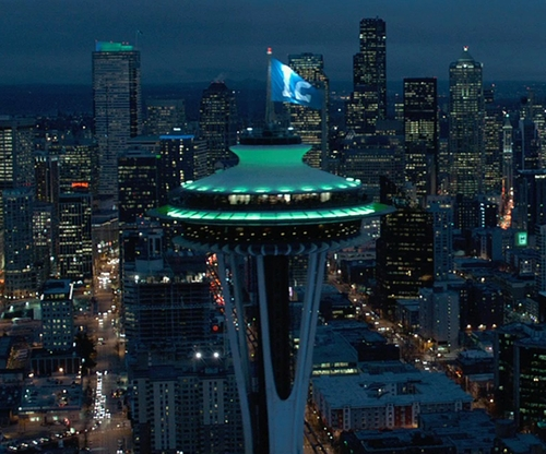 Unknown Actor with Space Needle Seattle, Washington in Fifty Shades of Grey
